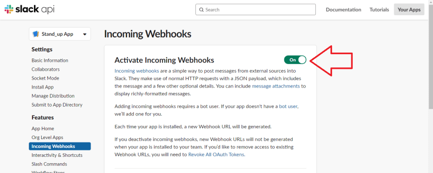 Activating incoming webhooks
