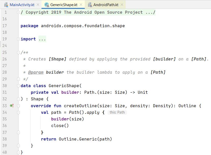 Source code of class GenericShape
