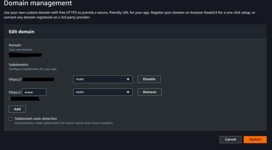 Update domain