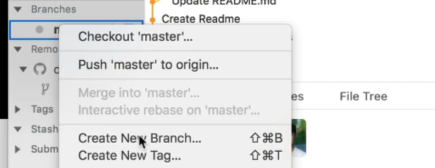 Cursor on the menu that says create new branch