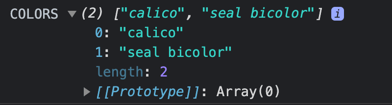 Console.log of the 2 cat colors