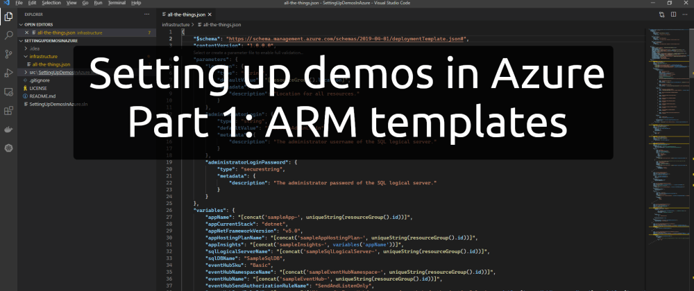 Cover image for Setting up demos in Azure - Part 1: ARM templates