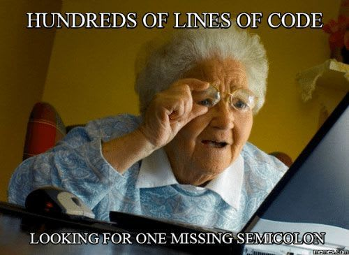 Grandma looking for a semicolon