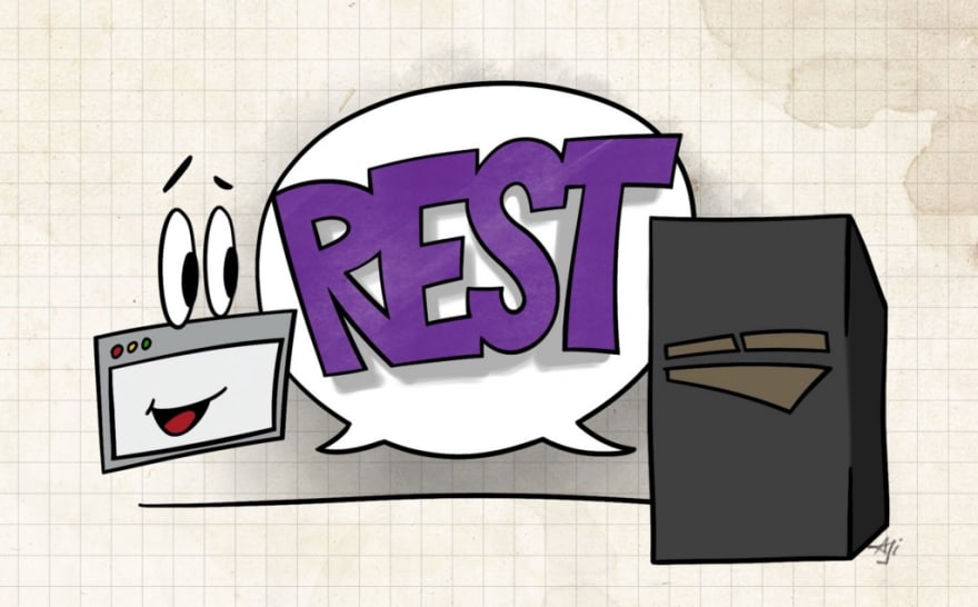 Cartoon representing server and client with the word REST between them