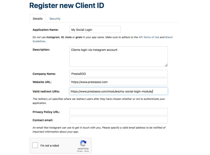 Register New Client Id