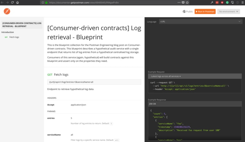 Published documentation generated by Postman from the sample blueprint collection