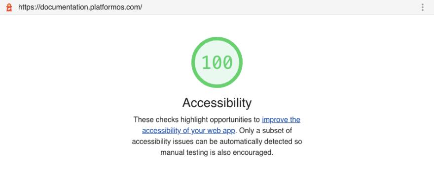 100/100 accessibility score on Google Lighthouse