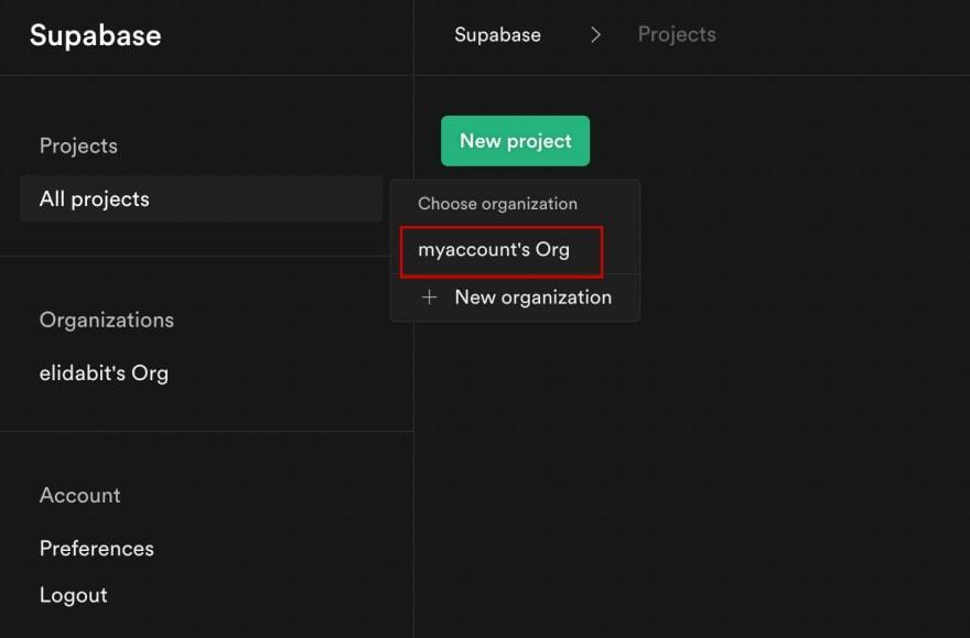 Creating Supabase account
