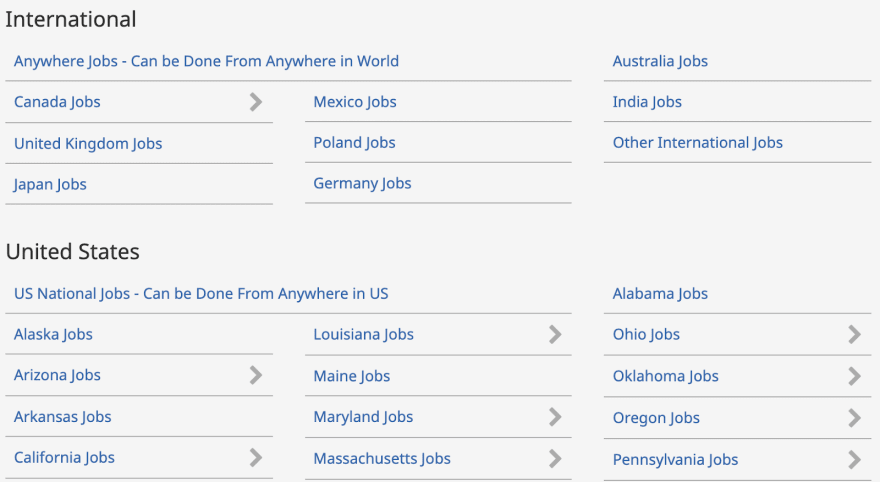 FlexJobs Location Search functionality.