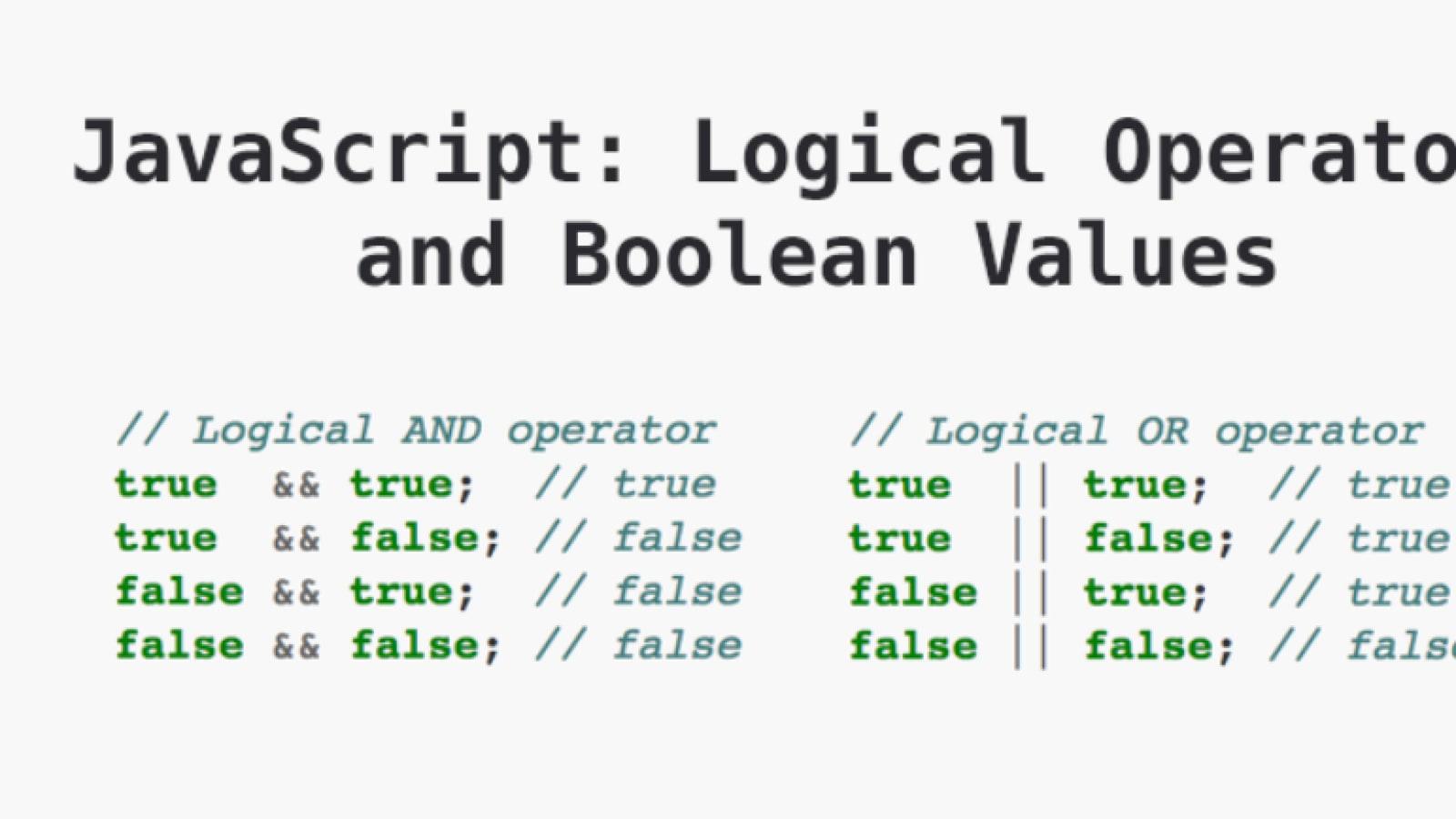 JavaScript Or Operator JavaScript Logical operators and Boolean ...
