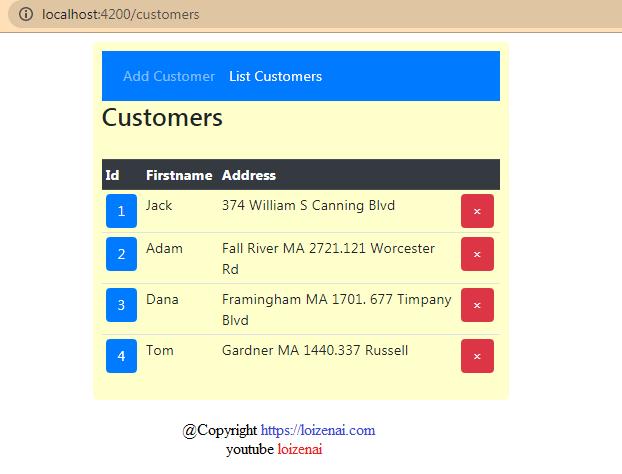 Angular 11 Nodejs CRUD Application – List All Customers