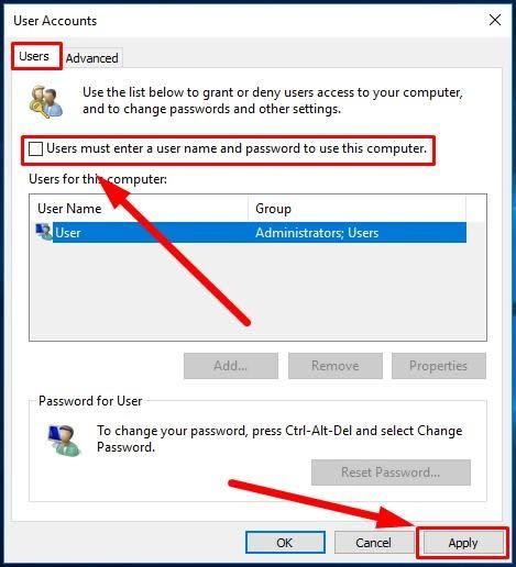 window User Accounts