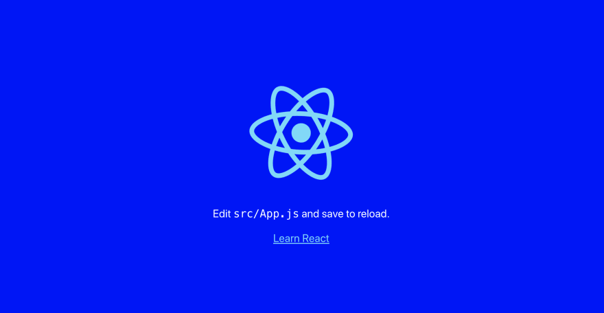 React app with blue background
