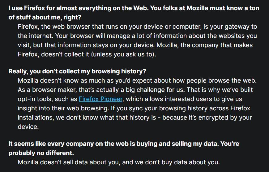 Mozilla in their FAQ claims they don't buy or sell your data