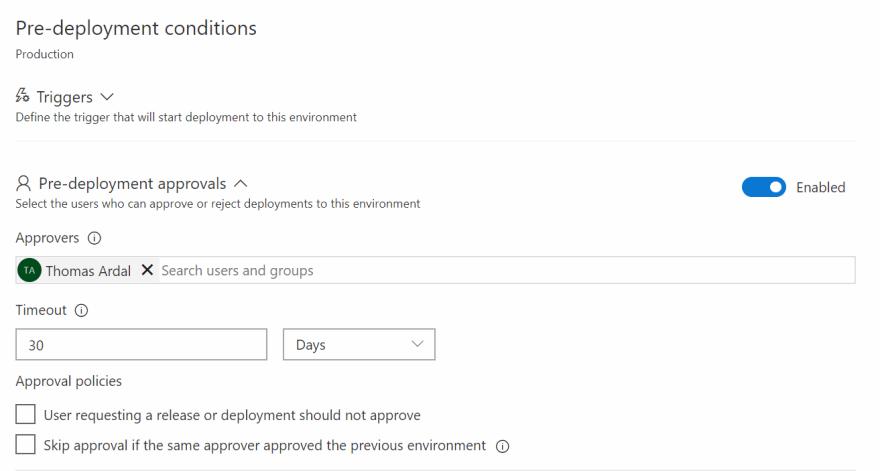 Pre-deployment approval