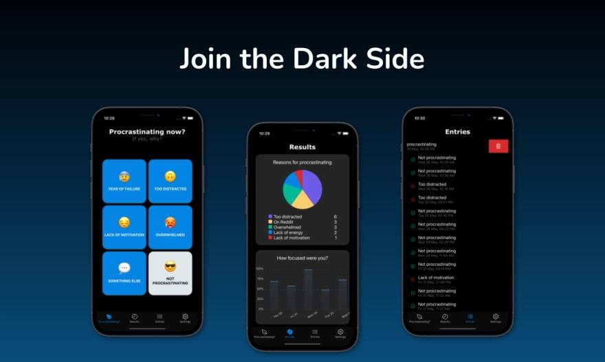 Don't Waste Today dark mode