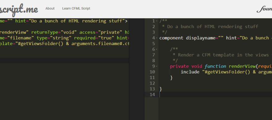 Screenshot of cfscript.me website with a block of tag syntax code on the left and generated script syntax on the right
