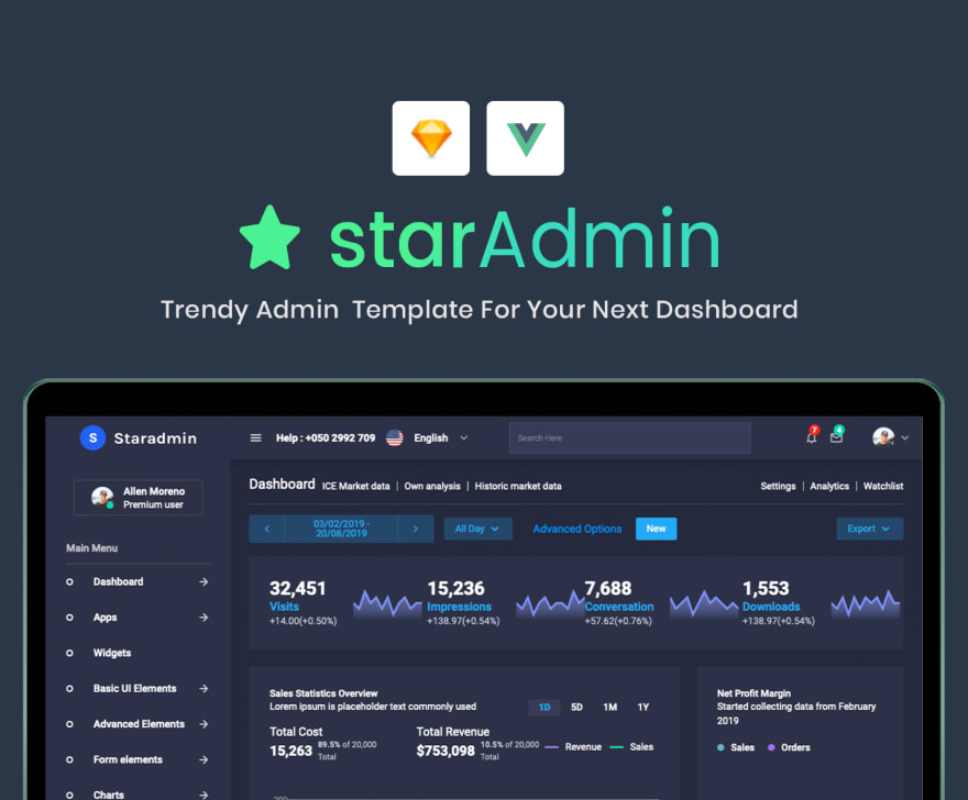 Star Admin Vue - Open-Source Admin Dashboard coded in Vuejs.