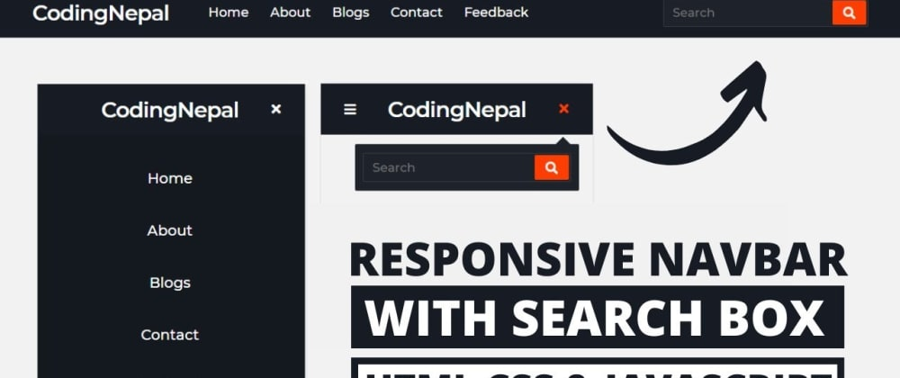 Cover image for Responsive Navbar with Search Box using HTML CSS & JavaScript