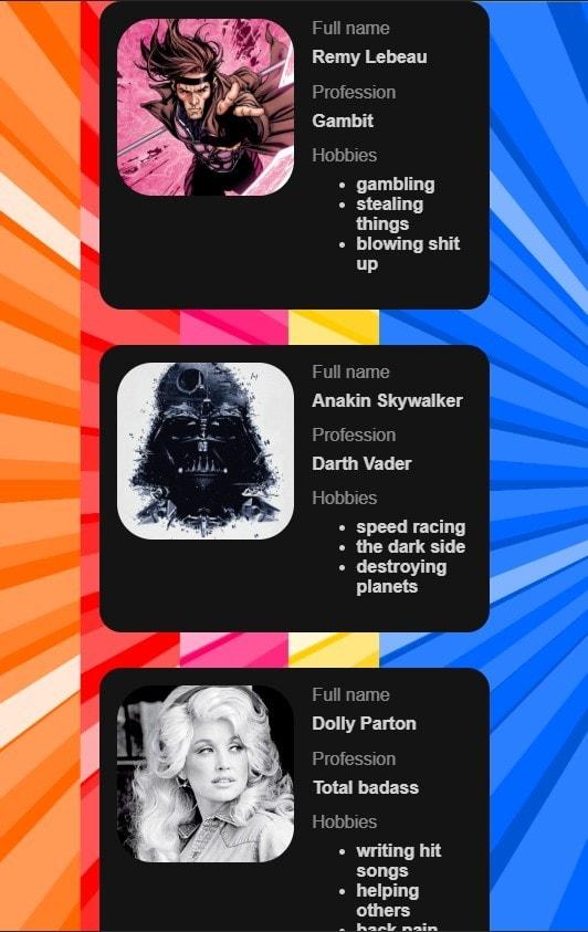 Screen shot of cards in flexbos column on narrow screen