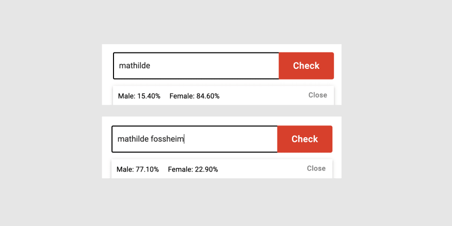 Screenshot of the results for Mathilde (85% chance of being a woman) versus Mathilde Fossheim (77% chance of being a man)