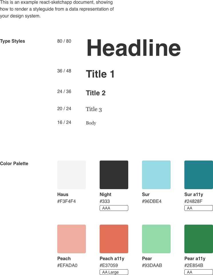 Airbnb's react-sketchapp styleguide example