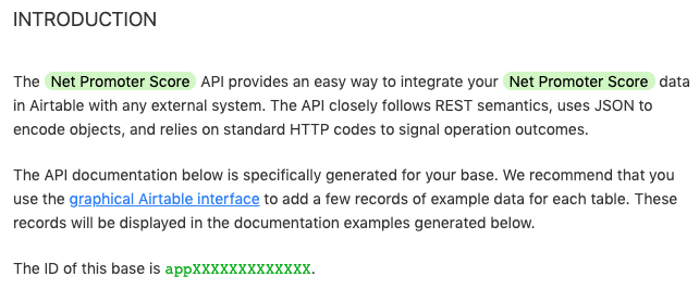"""Screenshot of auto-generated Airtable API documentation for the Net Promoter Score base. The section that says """"The ID of this base is apXXXXXXXXXXXX"""" is what we're after."""