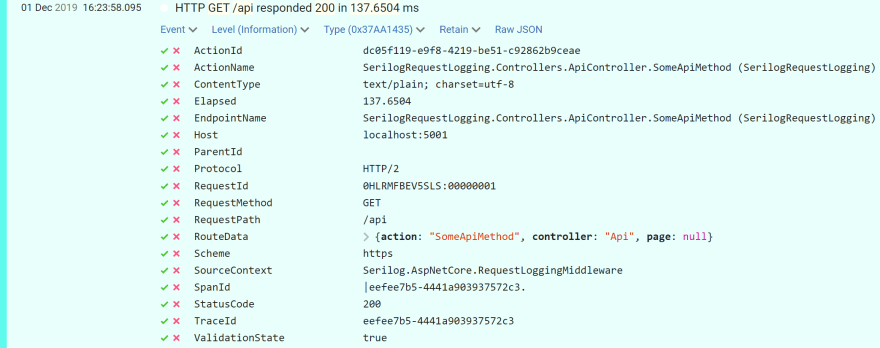 Image of extra MVC properties being recorded on Serilog request log