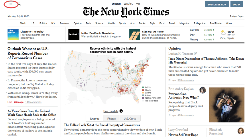 Home page of The New York Times