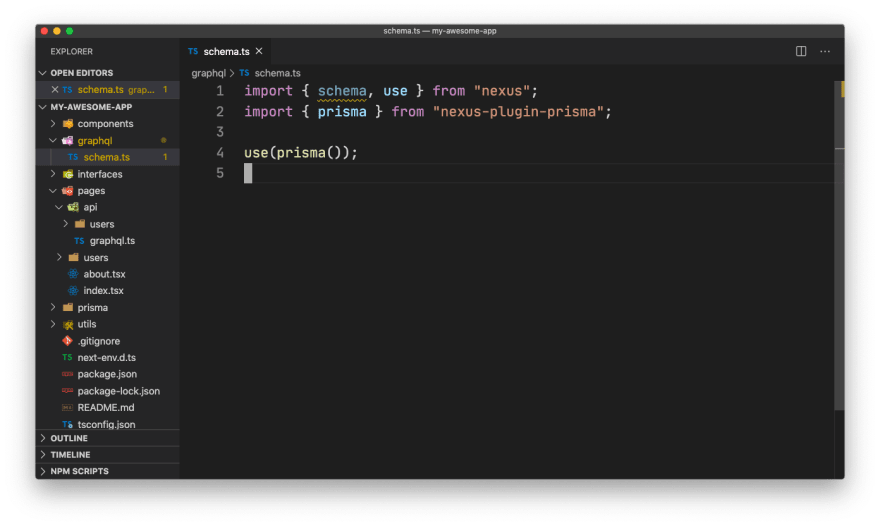 Project structure after creating `/graphql/schema.ts` and `/pages/api/graphql.ts`