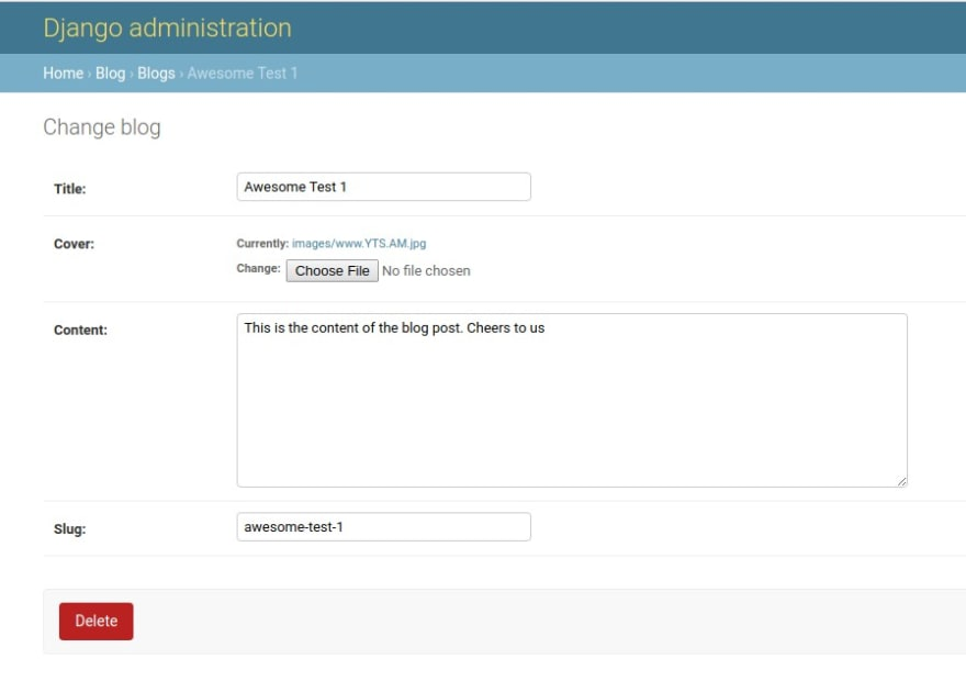 Image showing newly created blog post on the admin site