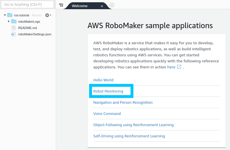 Cloud9 RoboMaker Environment CloudWatch Project