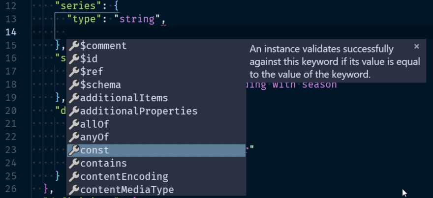 autocomplete while writing a schema