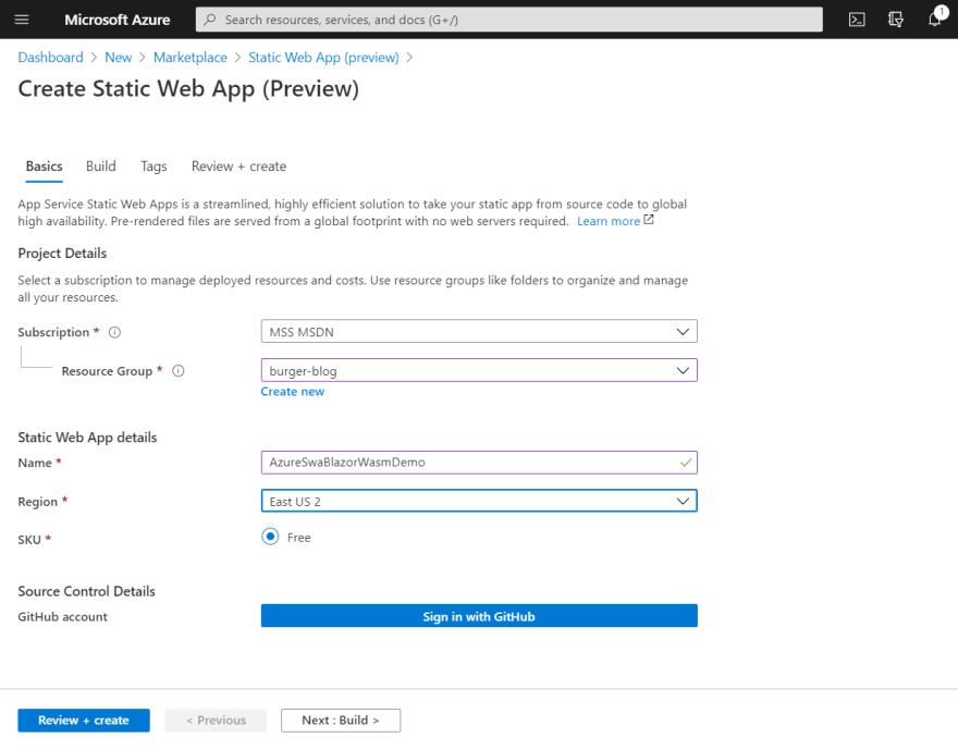 Screenshot of Create Azure Static Web App Basics tab