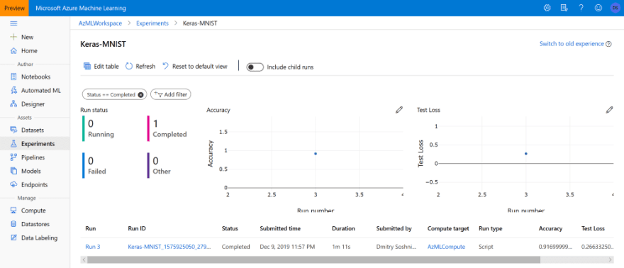 Experimento do Portal do Azure ML