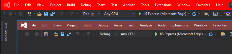 Two Visual Studio windows with different title bar colors