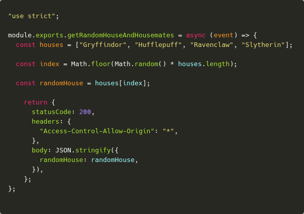 Screenshot of code to get a random house