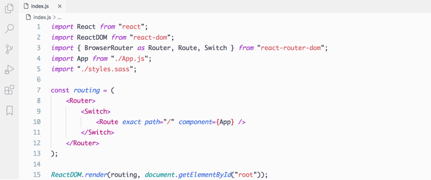 React code snippet with the Night Owl - Light theme
