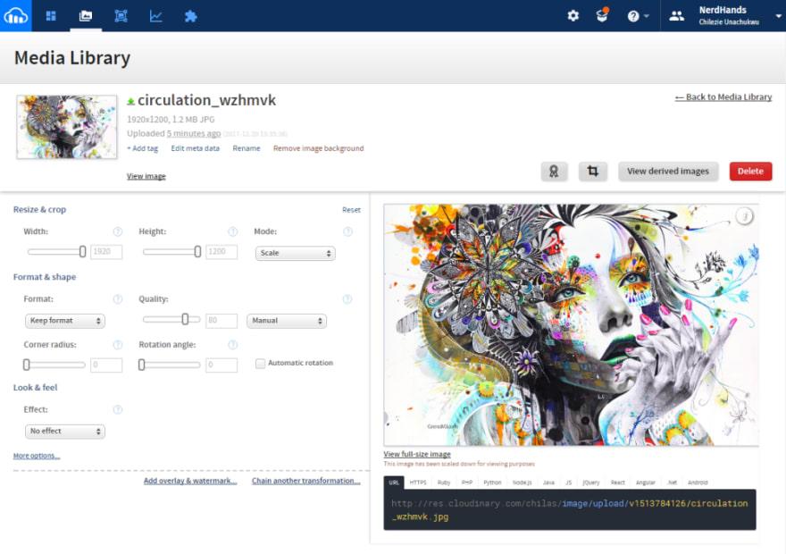 Screenshot of Cloudinary Dashboard