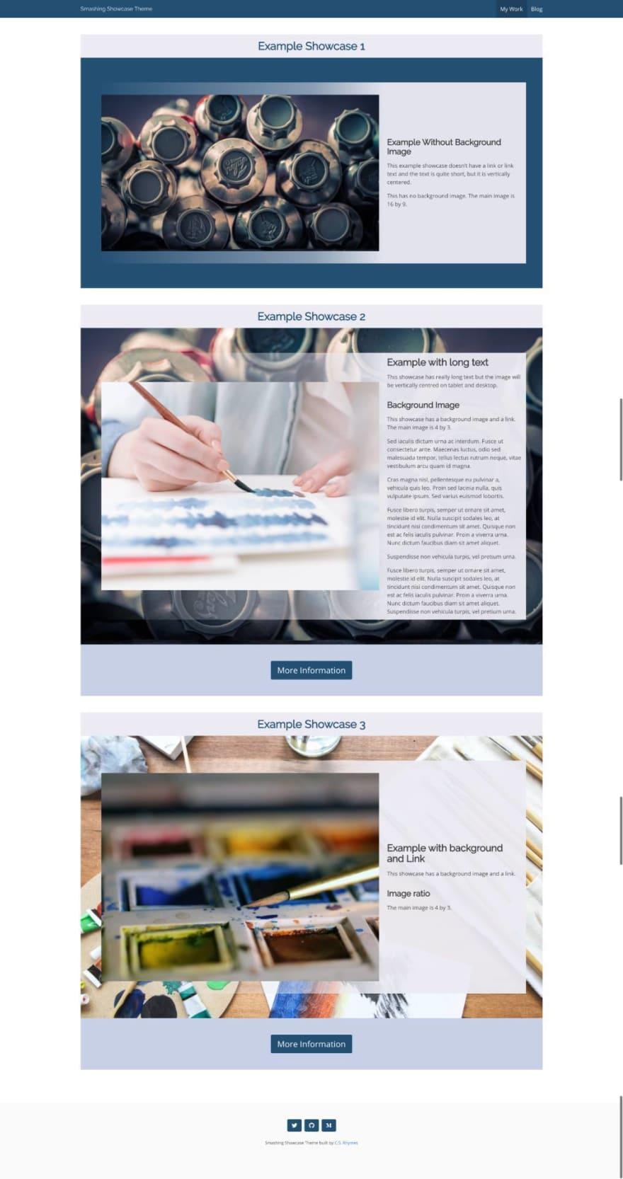 Showcase page layout