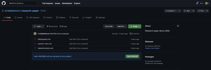 Showing my repo on GitHub