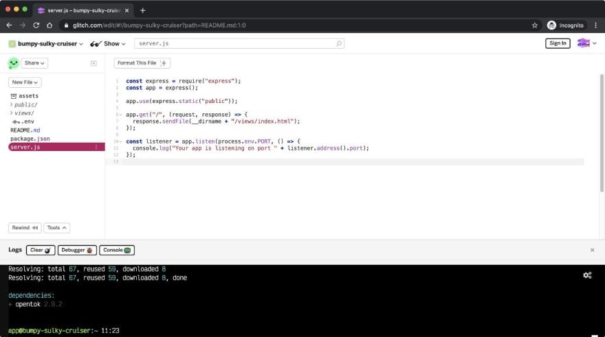 Screenshot of the server.js file on Glitch