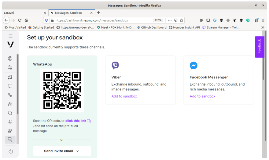 Screenshot of dashboard screen for whitelisting a number to the messages sandbox