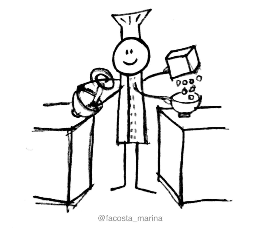 Drawing of a baker with multiple arms doing different tasks