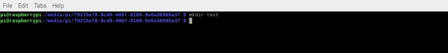 mkdir command output