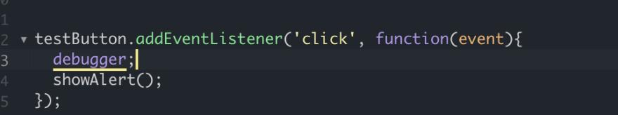 Debugger line in code