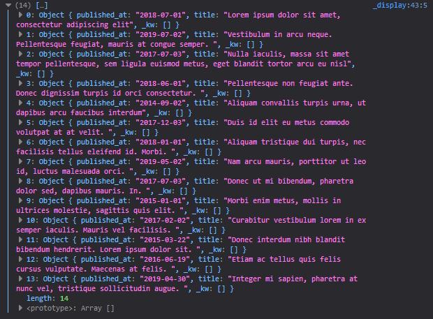 a console log of a javascript array