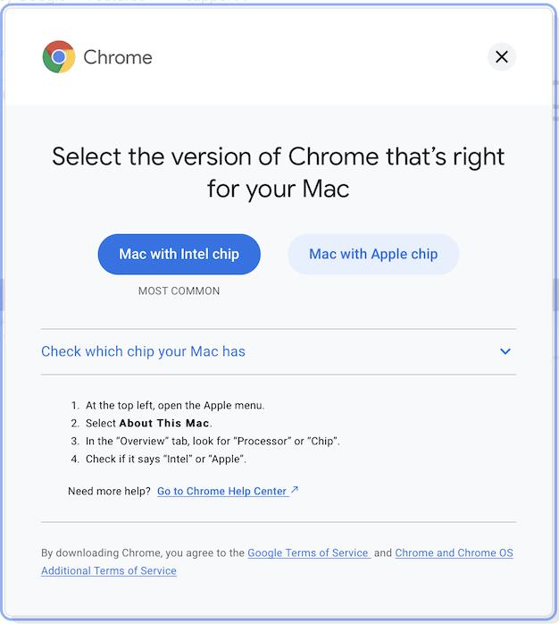 Select Chrome Version