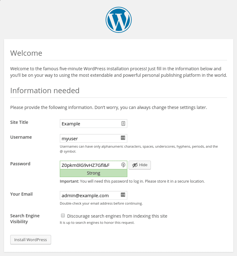 WordPress setup installation
