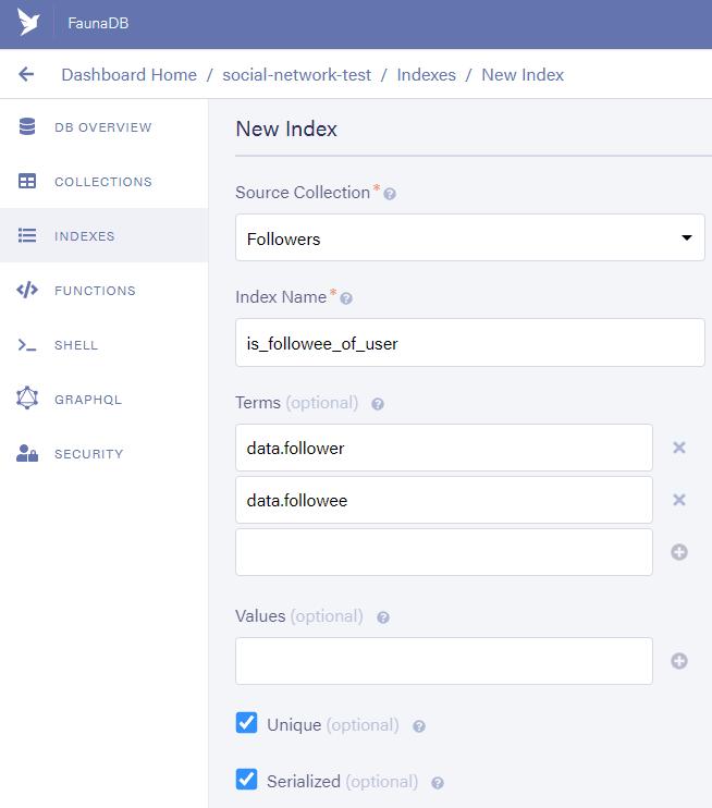 Fauna Dashboard: Create new index named is_followee_of_user